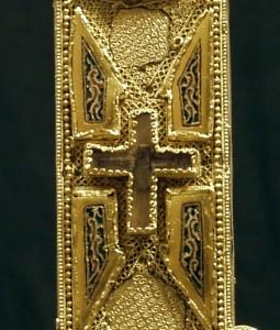 Dettaglio della reliquia verticale centrale della stauroteca